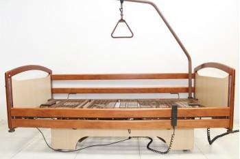 Łóżko medyczne, rehabilitacyjne elektryczne 4-Funkcyjne Wiśnia 2 + Wysięgnik